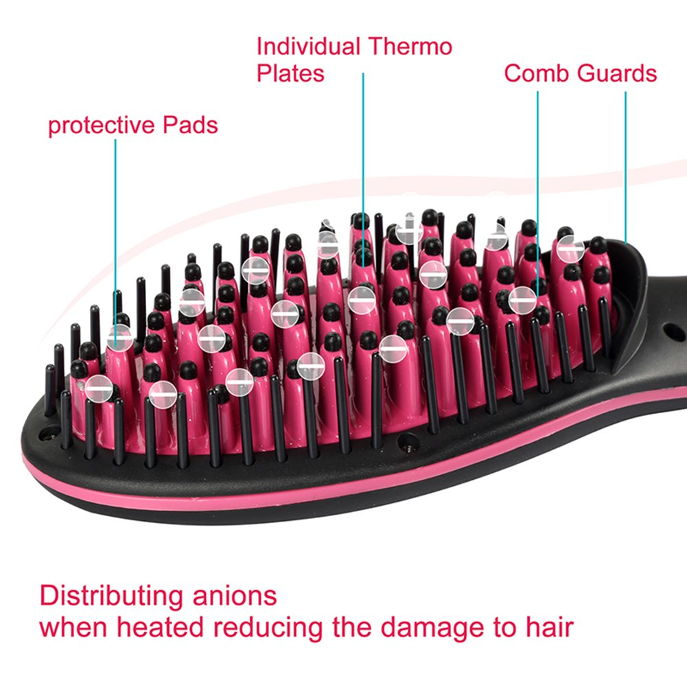 Hair Straightener Brush Electric Ceramic Heating Straightener Comb LCD Display Adjustable Temperature Anti-Scalding Fast And Easy Straight For Travel/Home Use HMYH by Hair Straightener (Image #5)