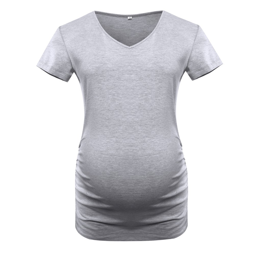 Derssity Womens Maternity Shirts Tops Short Sleeve Classic Side Ruched Pregnancy T-Shirt Clothes