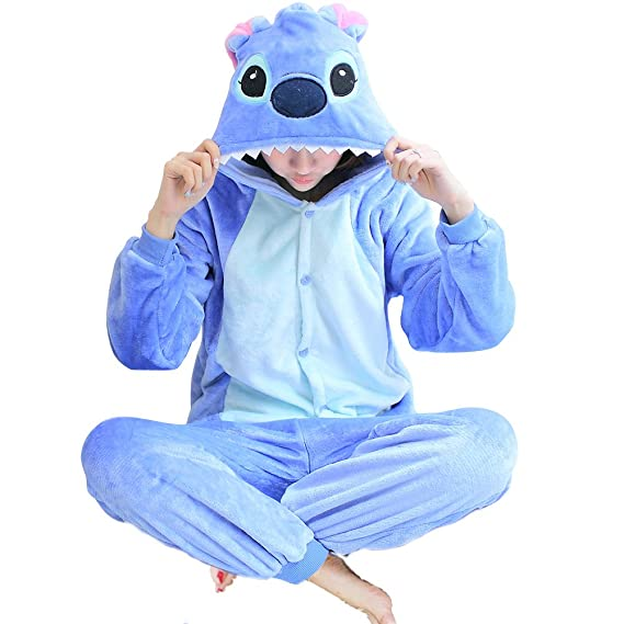 Adult Cartoon Blue Stitch Cosplay Halloween Costume Pajamas Onesies (Small)