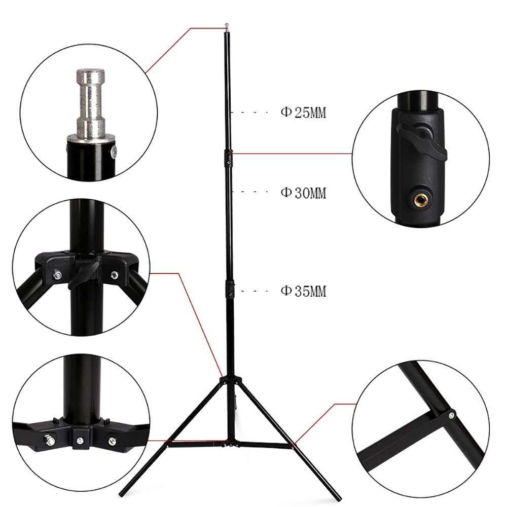 SH Telescopic Tube Background Support Pole and Stand, 9 x 10FT Heavy Duty Background Stand Backdrop Support System Kit with Carry Bag for Photography Photo Video Studio by SH (Image #3)