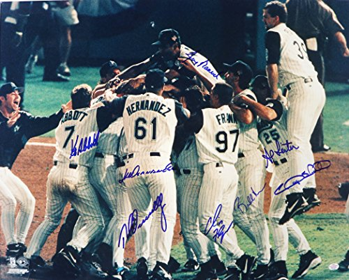 Florida Marlins 1997 Team Autographed Signed 16 x 20 World Series Champions Photo PAAS COA - 8 Autographs ()