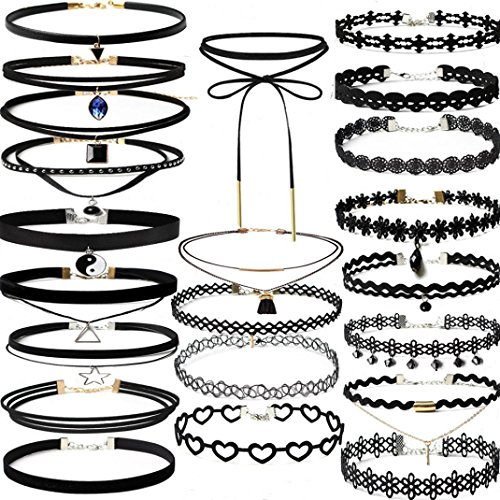 Gothic Display (Botrong Good Gift 22Pieces Choker Necklace Set Stretch Velvet Classic Gothic Tattoo Lace Choker)