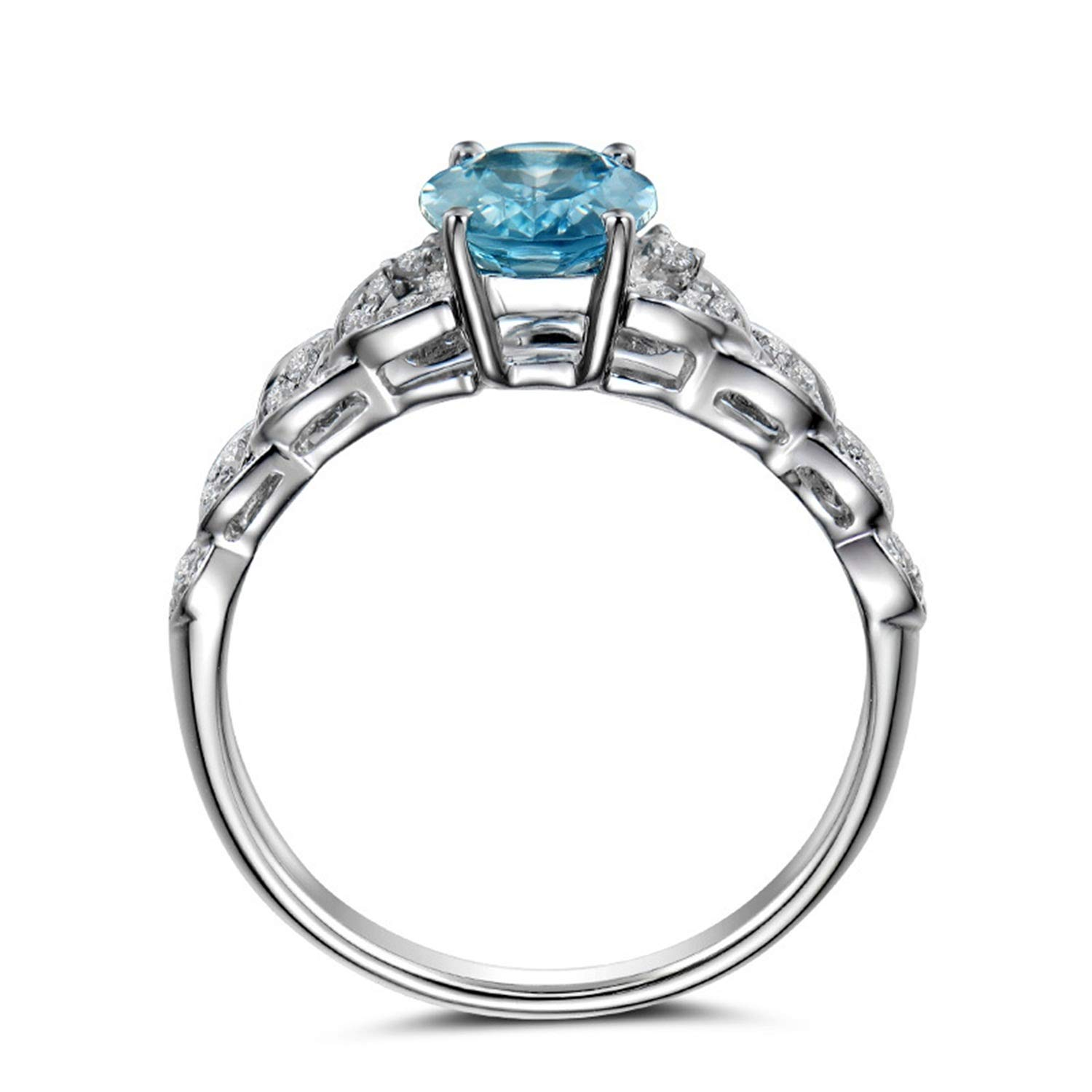 AMDXD Jewellery 925 Sterling Silver Anniversary Ring for Womens Blue Oval Cut Topaz Round Rings