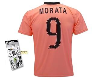 Juventus - Réplica de la camiseta de fútbol de Morata, con pegatinas de relieve de