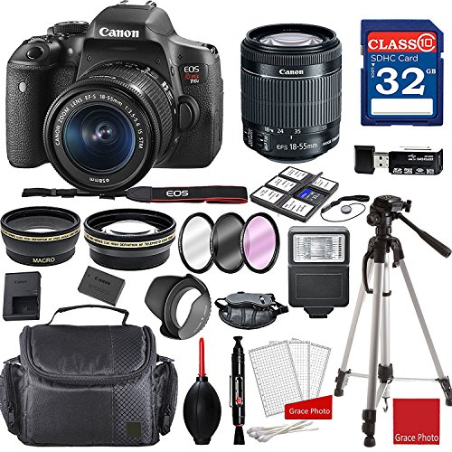 Canon EOS Rebel T6i DSLR Camera w/ EF-S 18-55mm f/3.5-5.6 IS STM Lens + Professional Accessory Bundle