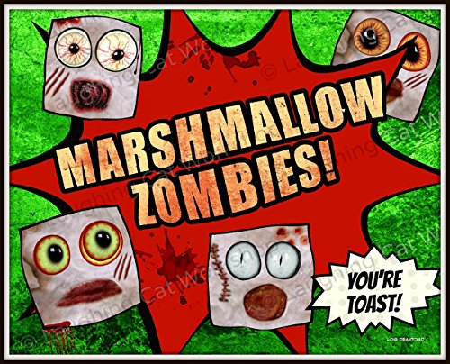Funny Zombie art whimsical Kids Zombie toast Marshmallow art, Teens boys girls dorm decor Creepers Blood Zombie lovers gift, Halloween decor The Walking dead ones art kitchen -