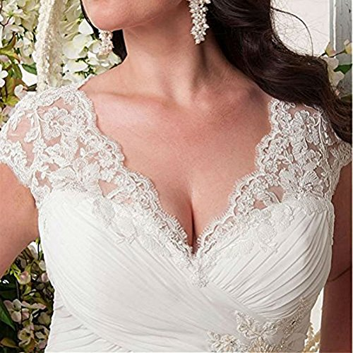 YIPEISHA Women's Elegant Applique Lace Wedding Dress V Neck Plus Size Beach Bridal Gowns 24W Ivory