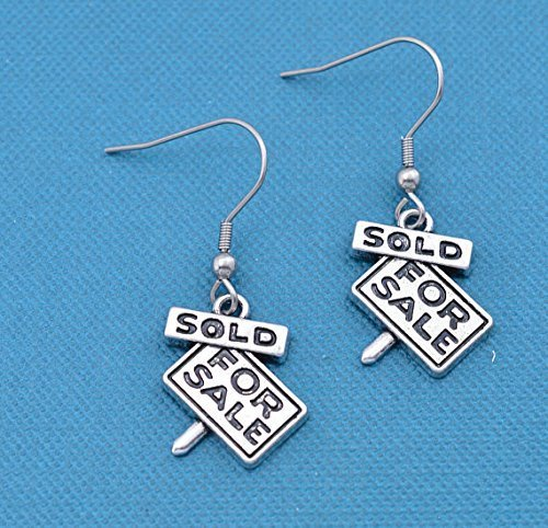 For Sale Sold earrings in silver pewter. Real estate jewelry. Gift for Real estate Agent Silver earrings. Wire earrings. -
