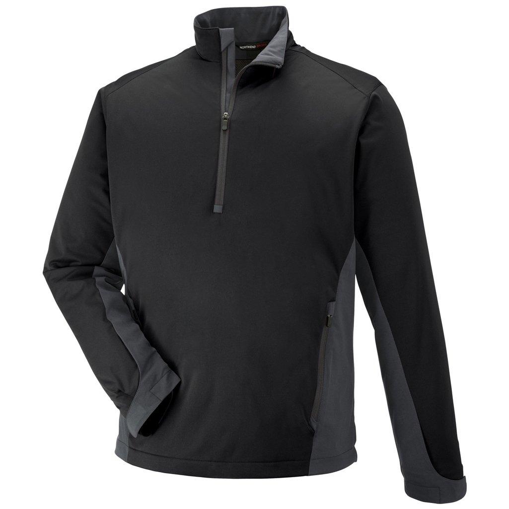 Ash City Mens Paragon Laminated Stretch Windshirt (Small, Black/Black Silk)