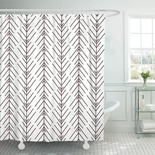 (Emvency Shower Curtain Pattern Floral Herringbone Black Woven White Abstract Waterproof Polyester Fabric 60 x 72 Inches Set with Hooks)