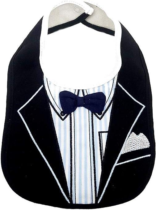 Babero para bebé elegante con mariposa negra y falsa camisa a rayas accesorio idea regalo niños: Amazon.es: Bebé