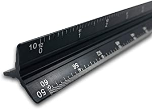 12 Inch Engineer Triangular Scale Ruler, Laser-Etched Solid Aluminum Engineer's Scale Ruler, Imperial Scale - 1:10, 1:20, 1:30, 1:40, 1:50, 1:60, Perfect for Civil Engineering Drafting