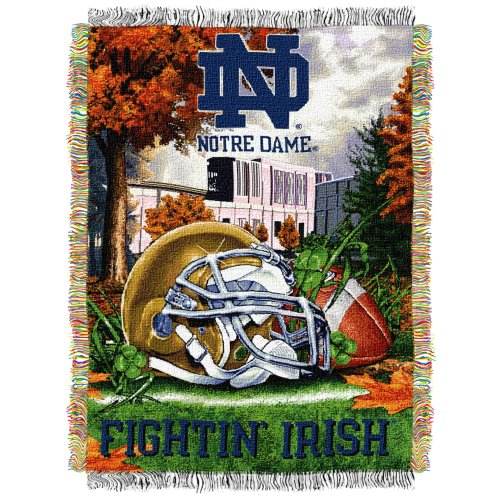The Northwest Company Officially Licensed NCAA Notre Dame Fighting Irish Home Field Advantage Woven Tapestry Throw Blanket, 48