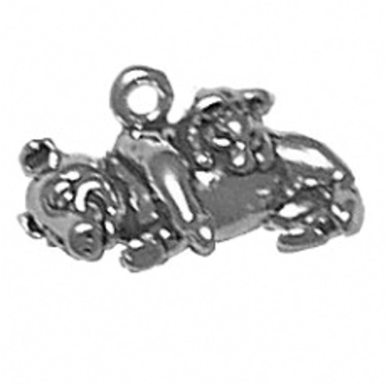 Sterling Silver Girls .8mm Box Chain 3D Mom Pig Piglet Pendant Necklace