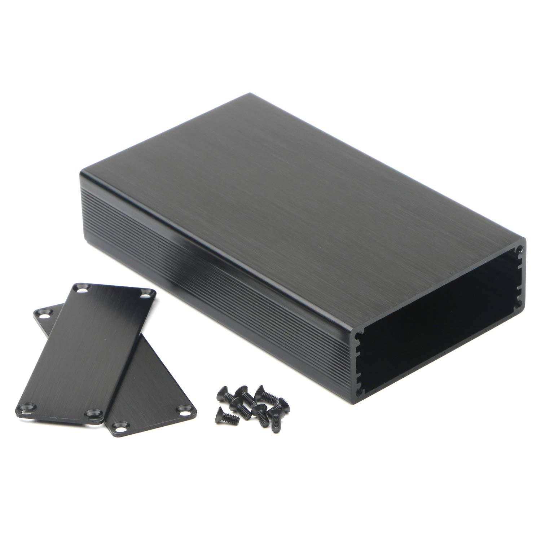JIUWU Black Surface Drawing Aluminum Enclosure Project Box Electronic Enclosure Case for PCB Board DIY 110x64.2x23.5mm LWH