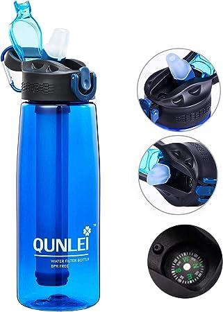 Qunlei Botella de Filtro de Agua, purificador de Agua de Emergencia con Pajita de Filtro integrada de 2 etapas para Viajes, Camping, Senderismo, Mochilas, sin BPA, 22 onzas, Azul: Amazon.es: Deportes y