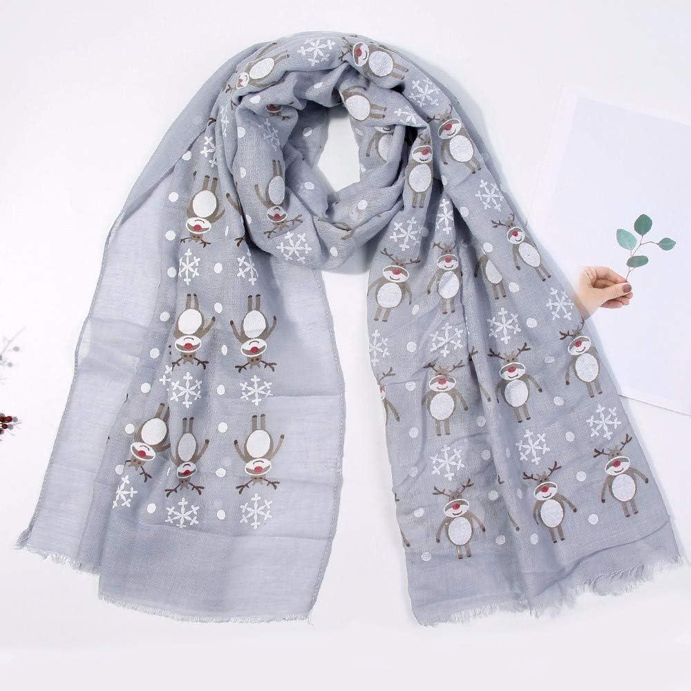 Theoylos Womens Christmas Scarf Winter Deer Print Warm Scarves Ladies Soft Chiffon Shawl Wraps Gray