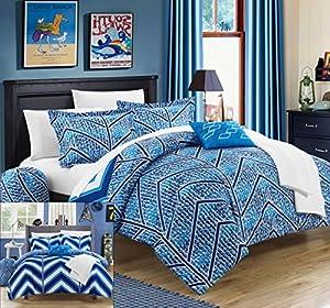 Chic Home 10 Piece Laredo Chevron and Geometric Printed Reversible Comforter Sheet Set, Full, Navy