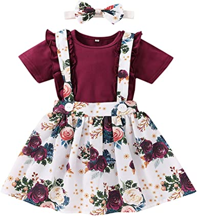 Baby Girls Suspender Skirts Set White Romper Florals Overall Dress Cute Button Strap Skirts Clothes Set Outfits