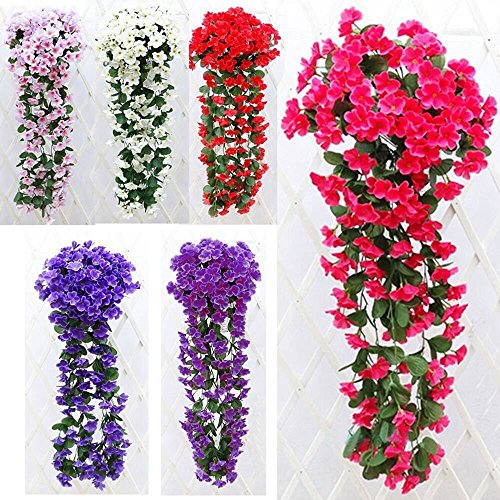 Artificial Violet Flower Wall Wisteria Basket Hanging Garland Vine Flowers Fake Silk Orchid Simulation Rattan Plant Vine Wedding Home Mounted Garden Balcony Wall Traling Floral Decoration (Rose Red) - Natural Rattan Blades