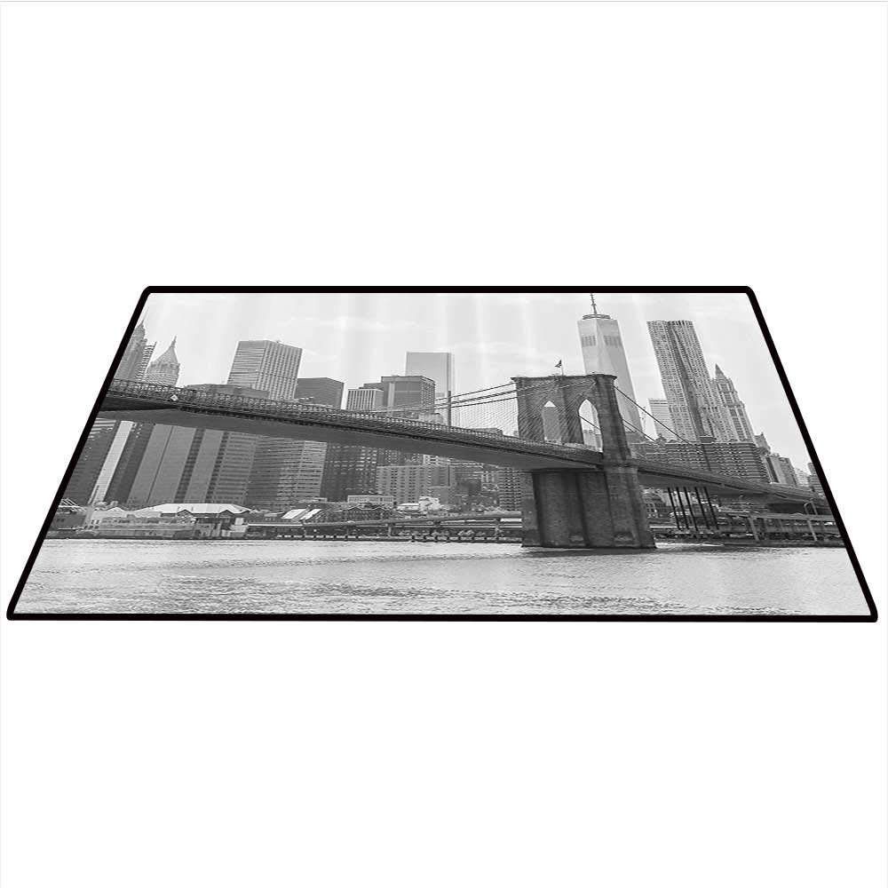 Apartment Decor Area Rug Carpet Photo of The Brooklyn Bridge Over East River and Tall Buildings Skylines at The Back Art Door mat 4