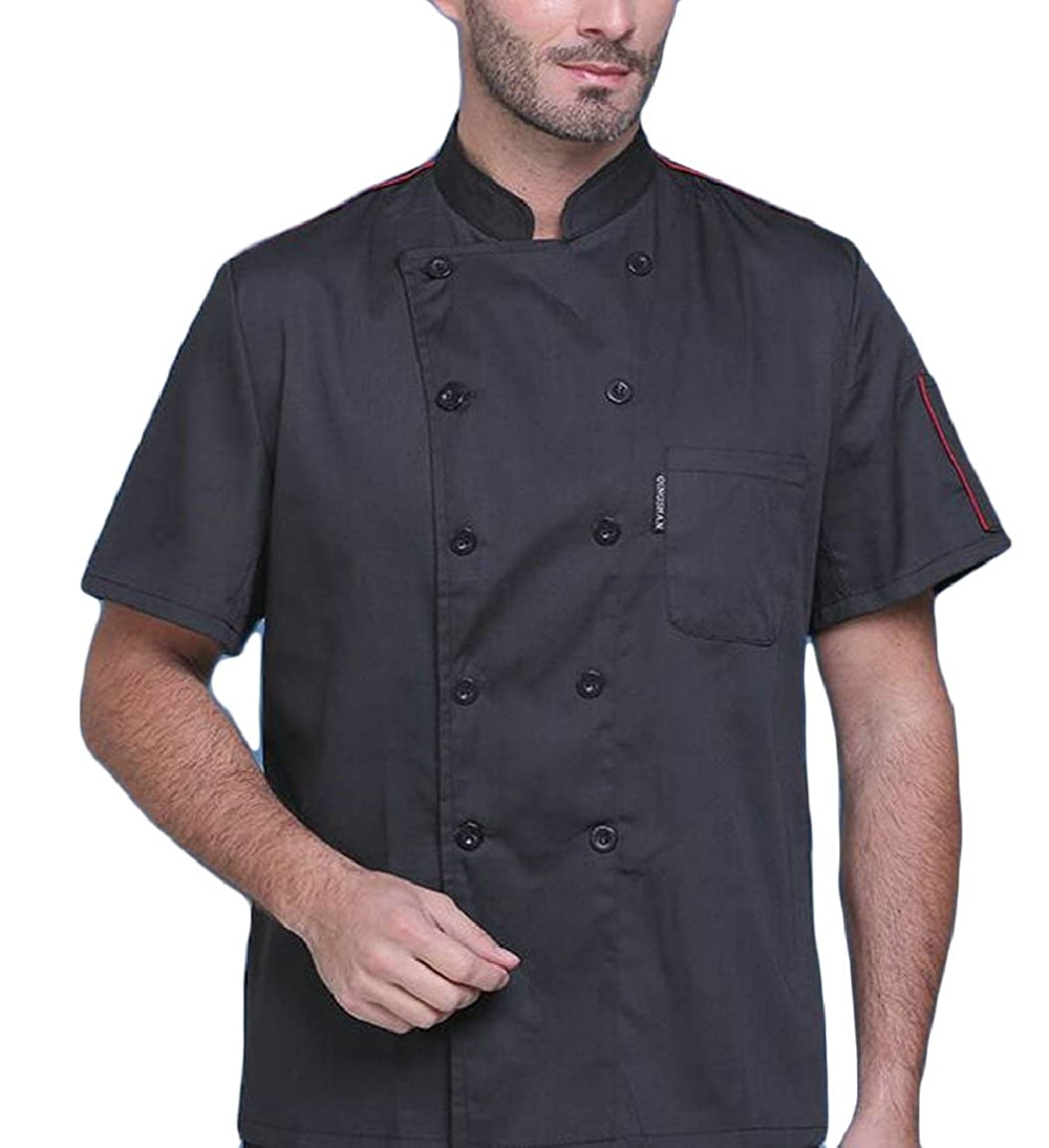 pujingge-CA Men Chef Jacket Short Sleeves Shirt Service Kitchen Uniform