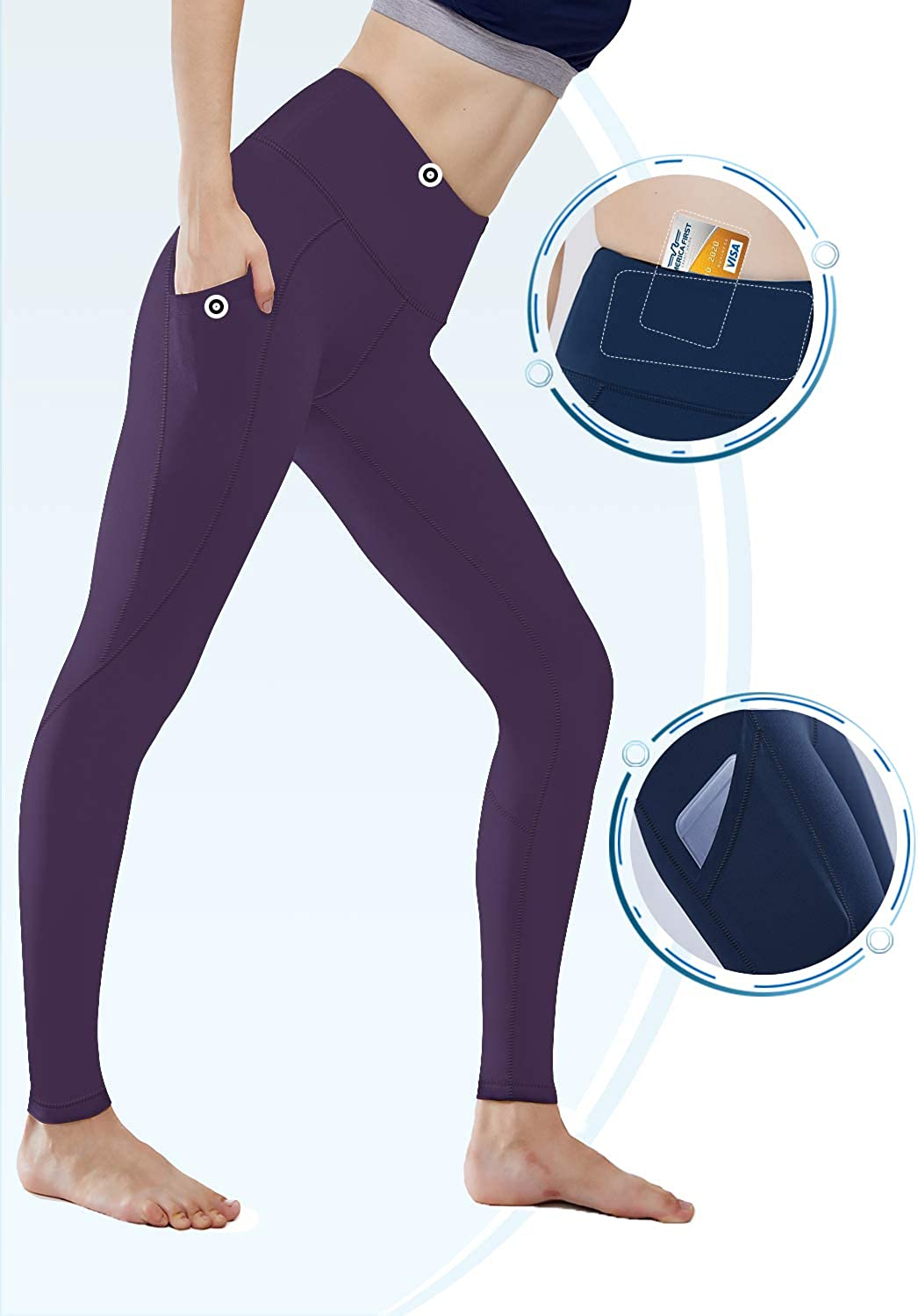 HISKYWIN Women Yoga Pants with Pockets Extra Soft Non See-Through Tummy Control High Waist Workout Leggings