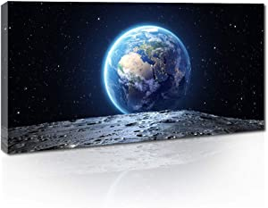 """Canvas Wall Art Space Blue Earth View from The Moon Surface Canvas Print Painting Outer Space Plant Pictures Artwork for Living Room Home Walls Decor 20""""x40"""""""