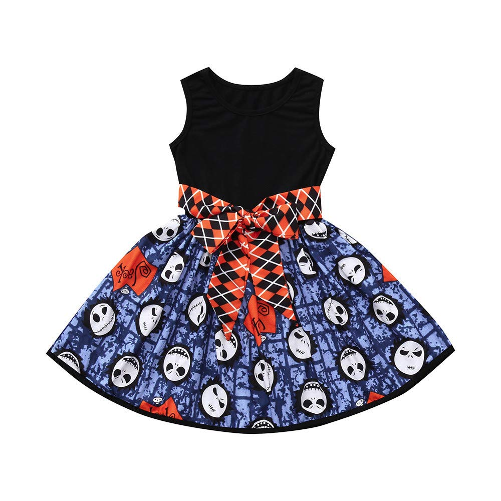 Clothes Set, Girls Cartoon Skull Bow Party Dress Halloween Dresses for 0-4 Years Old Kids Outfit JUH-852