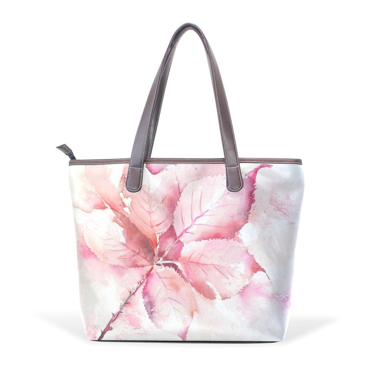 SCDS Red Leaves PU Leather Lady Handbag Tote Bag Zipper Shoulder Bag