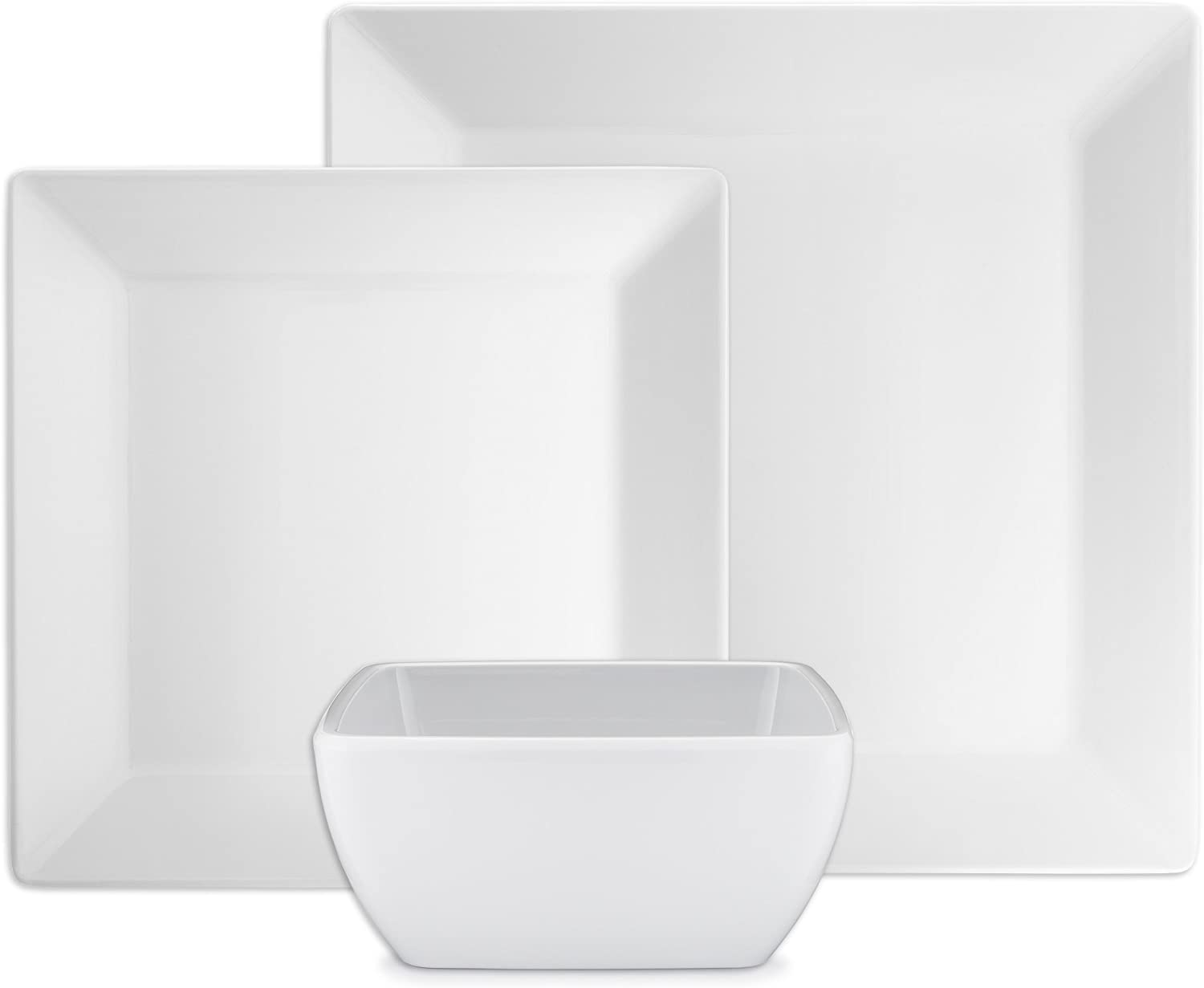 Q Squared Diamond White Collection Square 12-Piece Professional Grade, BPA-Free, Shatterproof, Melamine Dinnerware Set, Many Collection Options