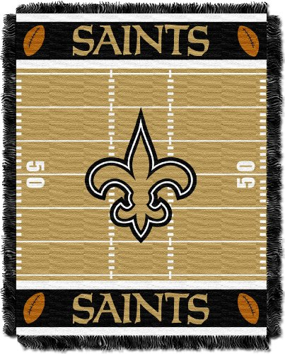 New Orleans Saints Team Mouse - The Northwest Company Officially Licensed NFL New Orleans Saints Field Bear Woven Jacquard Baby Throw Blanket, 36