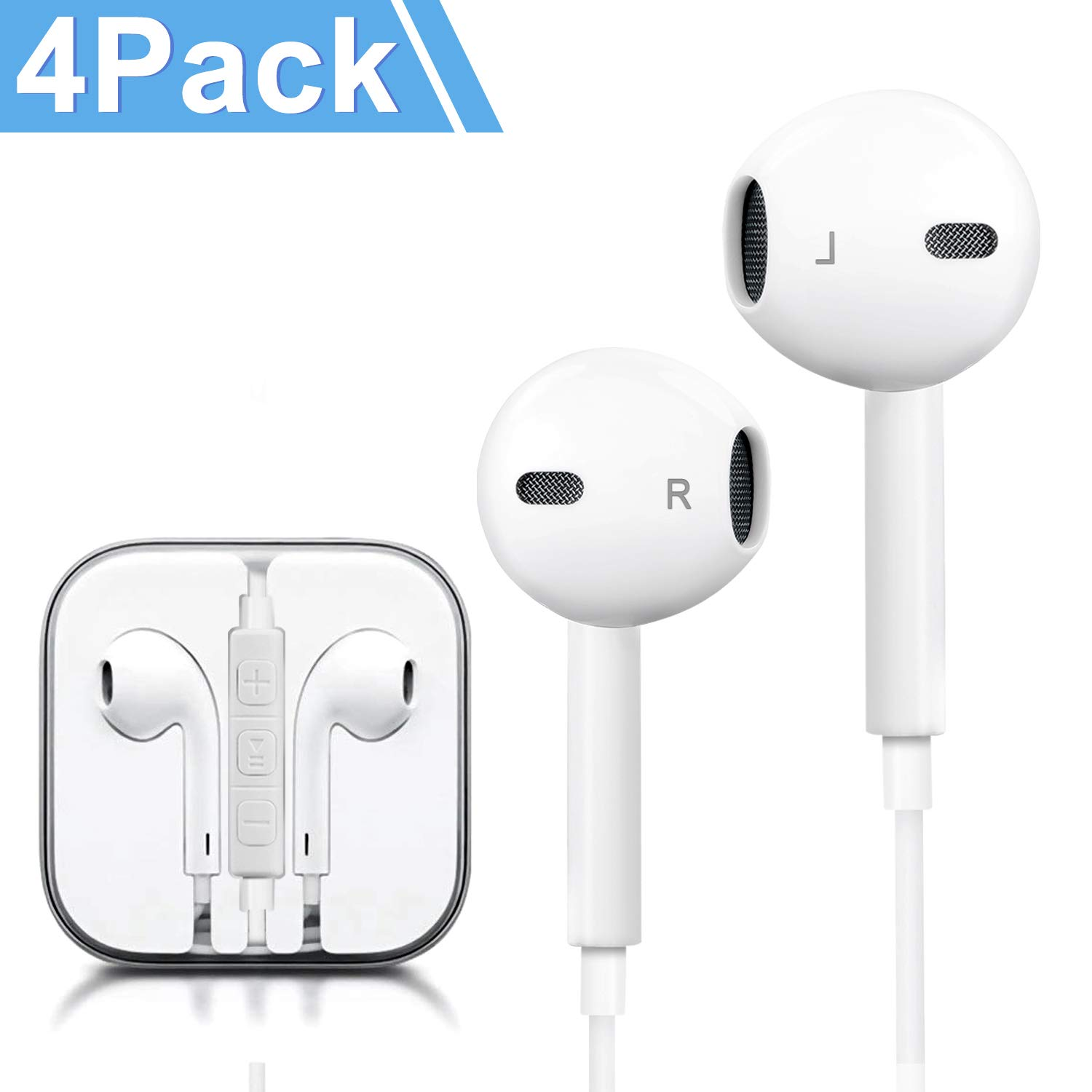 Headphones, 4Pack Quality Earbuds Earphones with Microphone and Volume Control, Compatible Phone 6s Plus/6s/6/SE/5s/5c/5 Galaxy and More Android Smartphones 3.5mm Headphones White by Bluedor