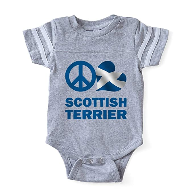 CafePress FIN Peace Love Scottish Terrier Flag Blue Baby Foo Cute Infant  Baby Football Bodysuit d04f24a72