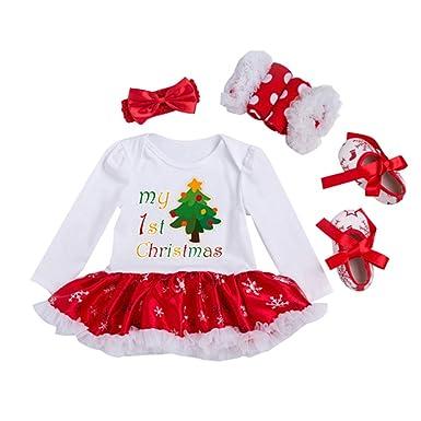 4e0962f0bc2c6 junkai Ensembles Bébé Fille - 4pcs Déguisement Noël Costume Manches Longues  Tutu Jupe Barboteuse + Bandeaux + Jambières + Chaussures  Amazon.fr   Vêtements ...