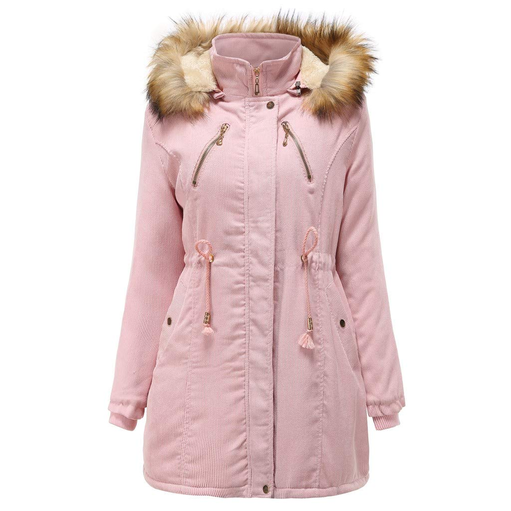 Women's Thickened Parka Jacket Warm Mid Length Sherpa Lined Parka Coat Hooded Drawstring Classic Fit Winter Outwear Pink by SSYUNO