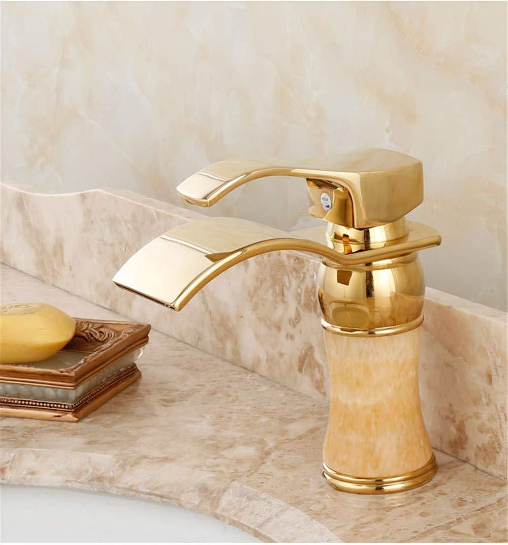 JingJingnet 洗面器の下のヨーロッパ式の銅のヒスイテーブルの熱いおよび冷たい金のコックの滝様式反対の洗面器の金張りのコック (Color : C) B07RZHM8F6 C