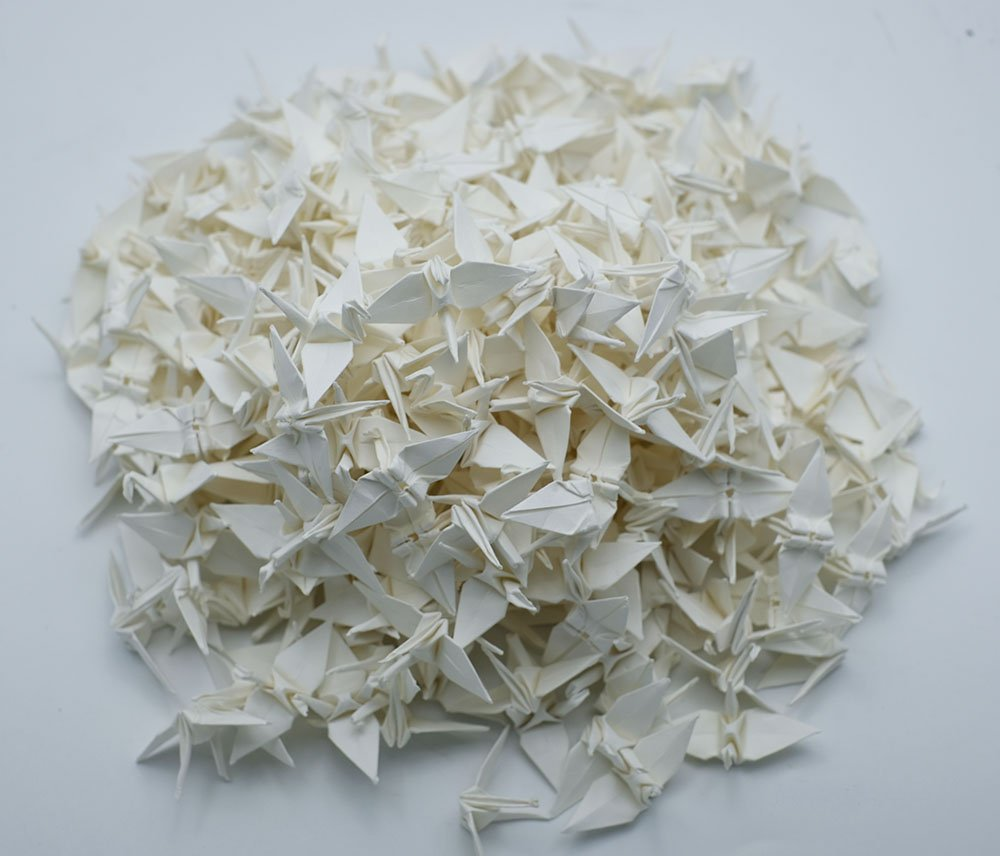 1000 origami cranes 1.5'' Ivory Handmade folded Origami paper Crane Christmas Wedding Decoration by Origamipolly