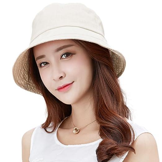 SIGGI Womens UPF50+ 100% Linen Summer Sun Bucket Packable Foldable Wide  Brim Hats w  e1ed7eadb40a