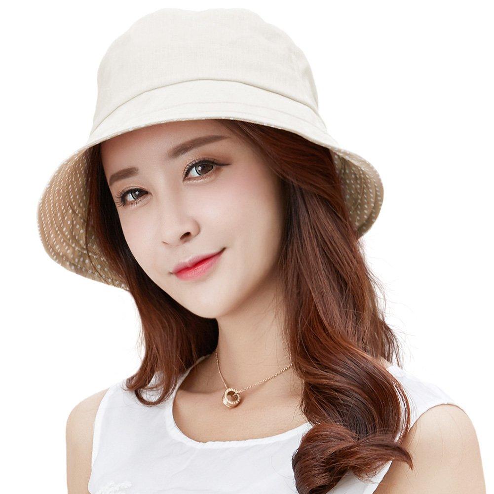 Siggi Womens UPF50+ 100% Linen Summer Sun Bucket Packable Foldable Wide Brim Hats w/Chin Cord Beige