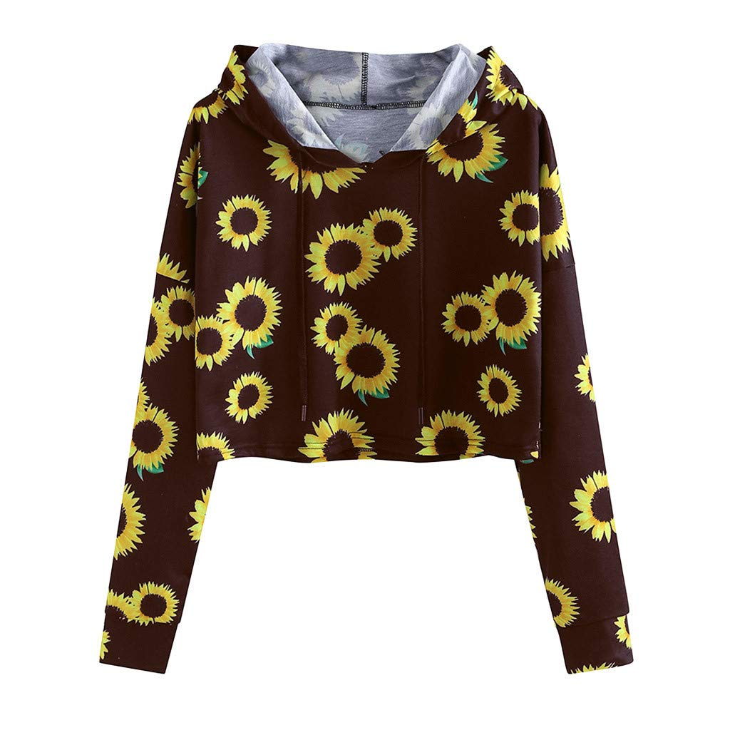ZOMUSAR Blouse For Women, Women Print Sunflower Loose Long Sleeve Top Pullover Hooded Cap Blouses by ZOMUSAR