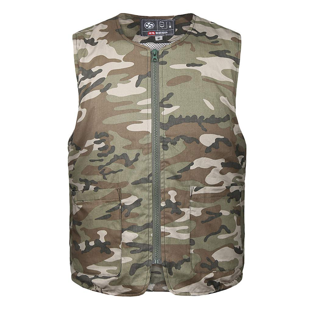 F_Gotal Men's Summer Air Conditioning Vest Heatstroke Countermeasures Outdoor Working Clothes Casual Tees Blouse Tops Camouflage