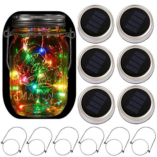 6-Pack Solar-powered Mason Jar Lights 20 LEDs(6 Hanger Included / No Jar),5 Colors Twinkle Jar Waterproof Hanging Lantern,Outdoor Garden String lighting Lids for Regular Mouth Jars for Christmas Patio