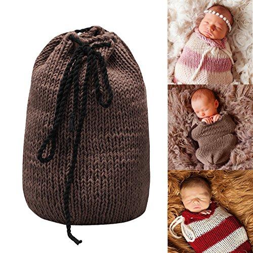 Sunmig Newborn Baby Photo Prop Sleeping Bag Handmade Crochet Knitted Photography (Coffee)