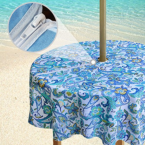 - eforgift Stain Resistant Oil Proof Umbrella Tablecloth with Zipper & Umbrella Hole, 60-inch Round Outdoor Table Cover for Umbrella Table Waterproof, Natural Floral Swirl Blue, Seating 4 People