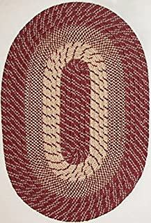 """product image for Plymouth 7'4"""" x 9'4"""" (88"""" x 112"""") Oval Braided Rug in Dk Claret Red"""