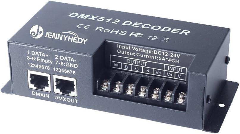 4 canaux 20A RGBW DMX 512 LED D/écodeur Contr/ôleur DMX gradateur utiliser pour DC12-24V RGBW RVB LED lumi/ère