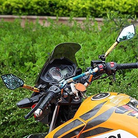TREONK Specchietti Moto Manubrio Ripiegabile Specchi Retrovisori Laterali CNC Alluminio per Yamaha//H onda//S uzuki//Kawasaki//K TM//B MW//Ducati//A prilia//P iaggio//V espa UNIVERSALE 7//8 22mm