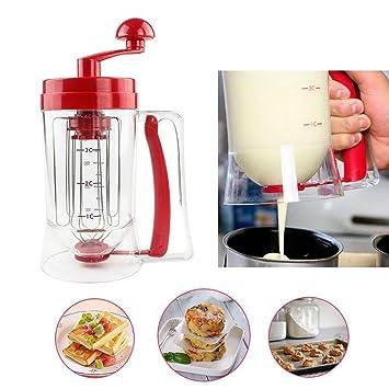 zhizu Perfect Manual Pancake Batter Dispensador perfecto Cupcakes gofres desayuno mezclador mezcla con la etiqueta de medición: Amazon.es: Hogar