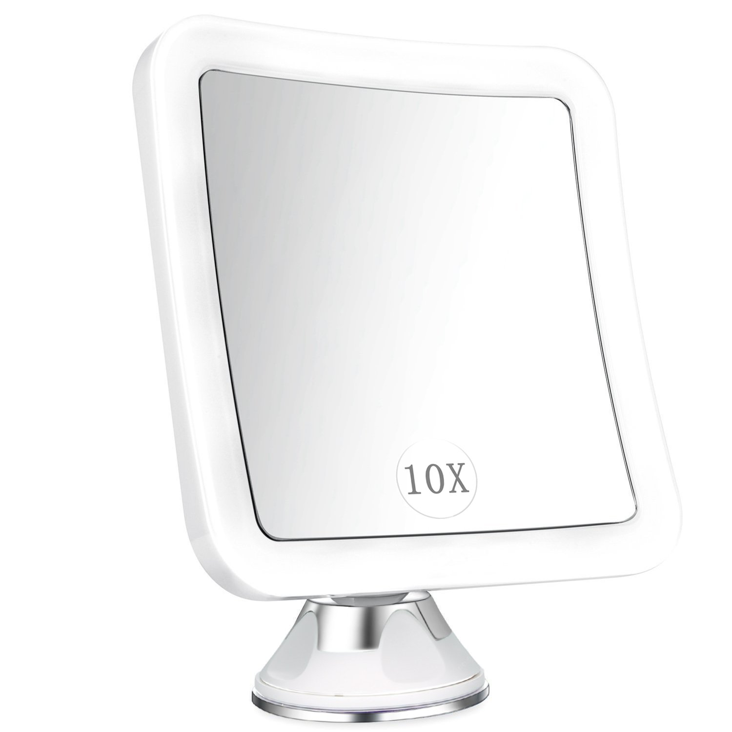 Lighted Makeup Mirror 10x Magnifying ELFINA Vanity Mirror with 16 LEDs Countertop Cosmetic Mirror Suction Locked 360 Rotation Bathroom Shower Shaving Mirror